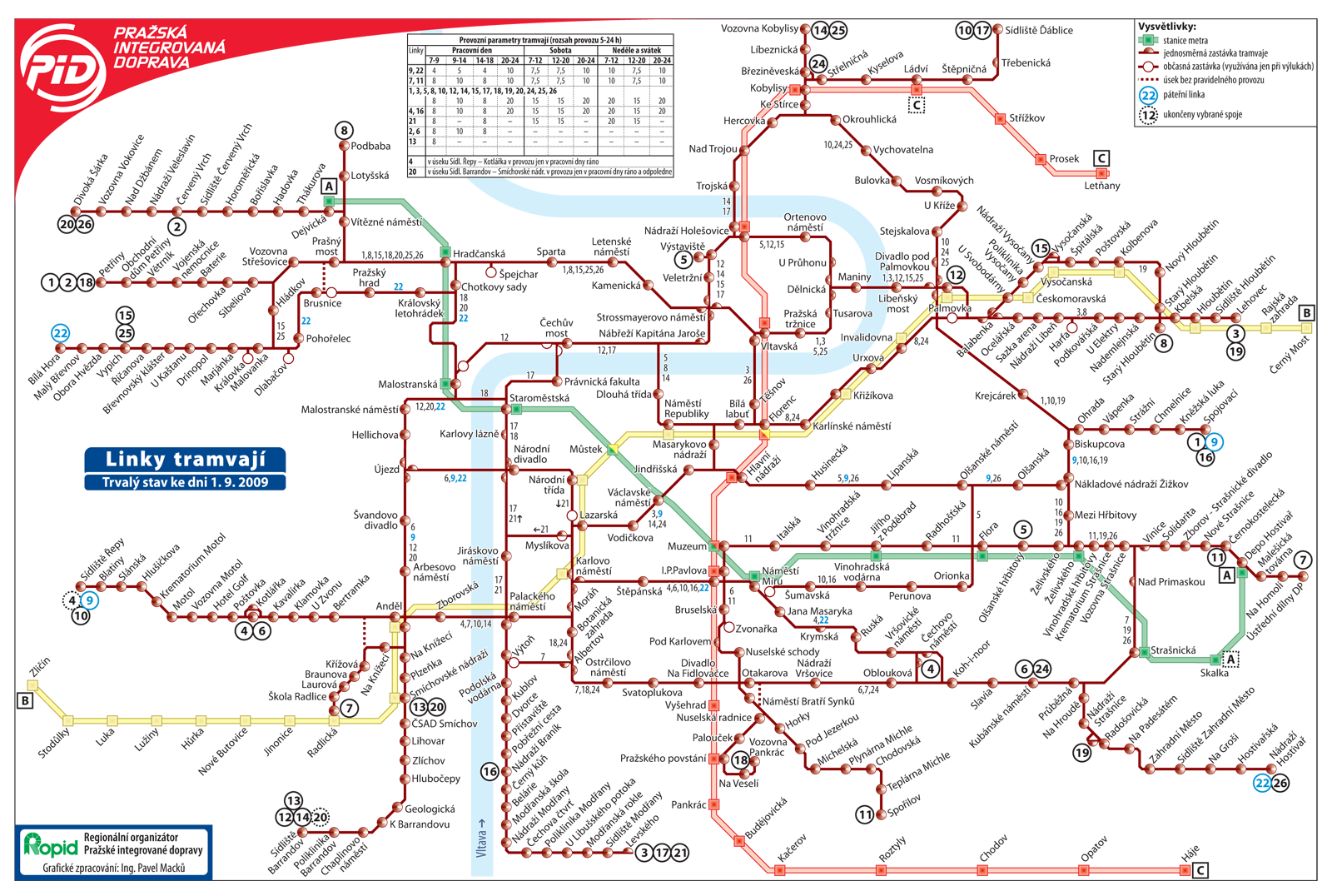Prague Metro tram map – Tourist Map of Prague
